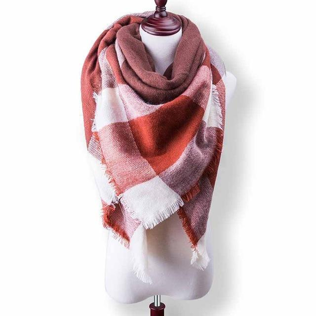 New Winter Plaid Scarf Women Warm Scarf Shawls Ladies Basic Scarves Pashmina Luxury Brand-Accessories-WOWEXPRESS Store-B37-EpicWorldStore.com