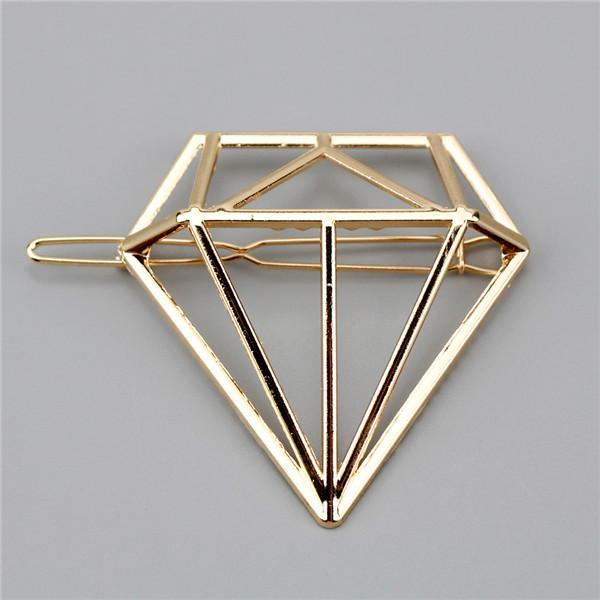 New Women Girls Gold/Silver Plated Metal Triangle Circle Moon Hair Clips Metal Circle-Accessories-Tansy Store-Gold Diamond-EpicWorldStore.com
