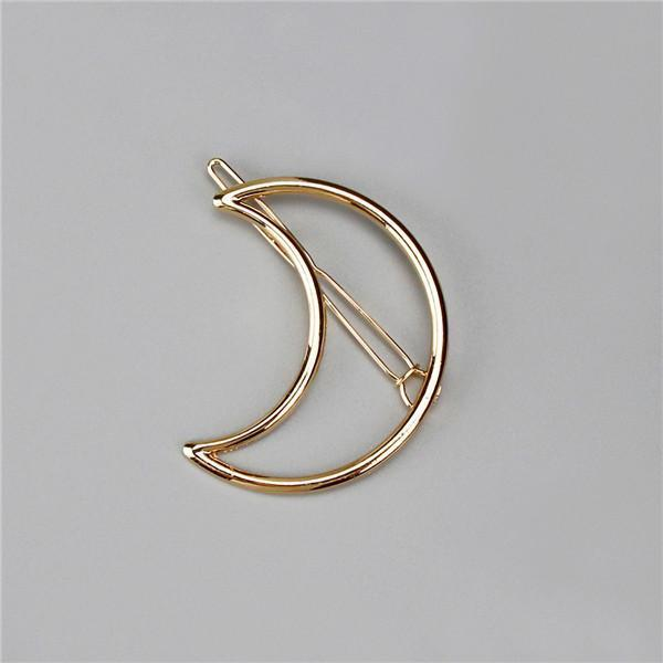 New Women Girls Gold/Silver Plated Metal Triangle Circle Moon Hair Clips Metal Circle-Accessories-Tansy Store-Golden Moon-EpicWorldStore.com