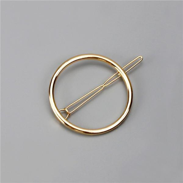 New Women Girls Gold/Silver Plated Metal Triangle Circle Moon Hair Clips Metal Circle-Accessories-Tansy Store-Golden Round-EpicWorldStore.com