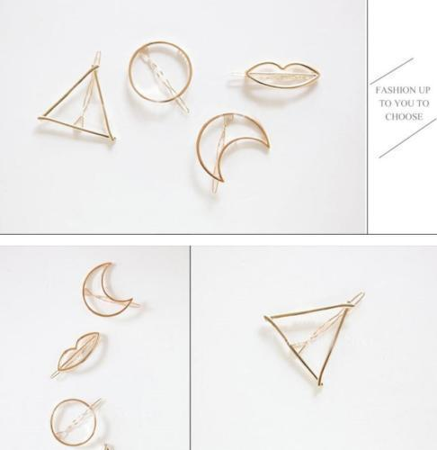 New Women Girls Gold/Silver Plated Metal Triangle Circle Moon Hair Clips Metal Circle-Accessories-Tansy Store-Golden trangle-EpicWorldStore.com