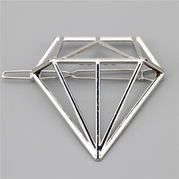 New Women Girls Gold/Silver Plated Metal Triangle Circle Moon Hair Clips Metal Circle-Accessories-Tansy Store-Sliver Diamond-EpicWorldStore.com
