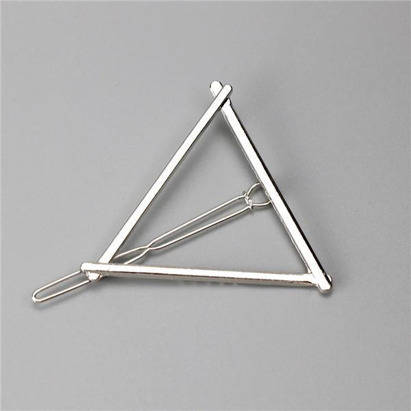 New Women Girls Gold/Silver Plated Metal Triangle Circle Moon Hair Clips Metal Circle-Accessories-Tansy Store-Sliver trangle-EpicWorldStore.com