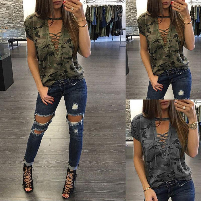 New Women Ladies Short Sleeve Camouflage Loose Blouse Summer Lace Up Casual Blouses Shirts-Blouses & Shirts-ONLYONE Store-Gray-S-EpicWorldStore.com