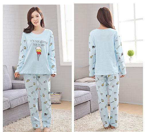 6d1e1afa52 New Women Pajamas Sets Autumn Long Sleeve Thin Cartoon Print Cute Loose  Sleepwear Girl Pijamas Mujer