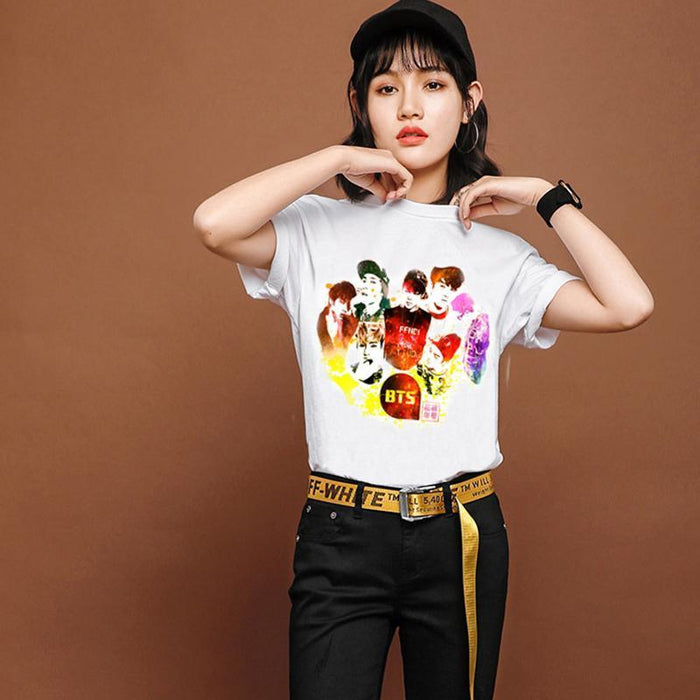New Womens Bts Summer Cartoon T-Shirt South Korea Bullet-Proof Youth Group Spent Beautiful Men-Tops & Tees-kitty female Store-01-S-EpicWorldStore.com