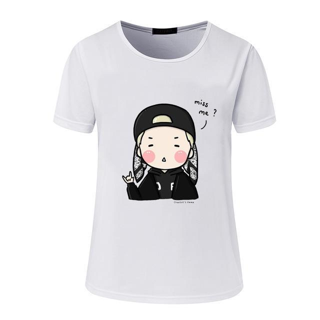 New Womens Bts Summer Cartoon T-Shirt South Korea Bullet-Proof Youth Group Spent Beautiful Men-Tops & Tees-kitty female Store-02-S-EpicWorldStore.com