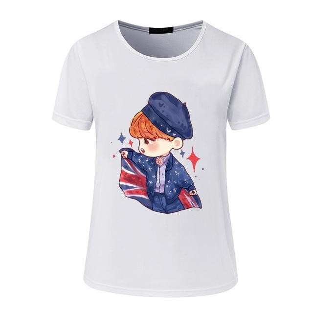 New Womens Bts Summer Cartoon T-Shirt South Korea Bullet-Proof Youth Group Spent Beautiful Men-Tops & Tees-kitty female Store-03-S-EpicWorldStore.com
