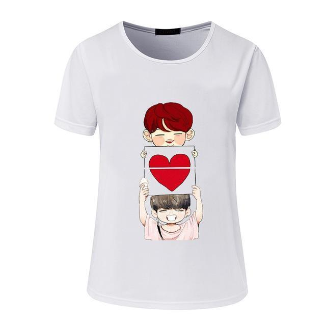 New Womens Bts Summer Cartoon T-Shirt South Korea Bullet-Proof Youth Group Spent Beautiful Men-Tops & Tees-kitty female Store-04-S-EpicWorldStore.com