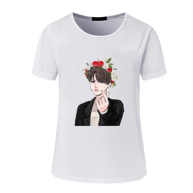 New Womens Bts Summer Cartoon T-Shirt South Korea Bullet-Proof Youth Group Spent Beautiful Men-Tops & Tees-kitty female Store-07-S-EpicWorldStore.com
