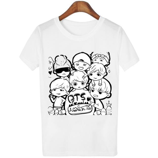 New Womens Bts Summer Cartoon T-Shirt South Korea Bullet-Proof Youth Group Spent Beautiful Men-Tops & Tees-kitty female Store-08-S-EpicWorldStore.com