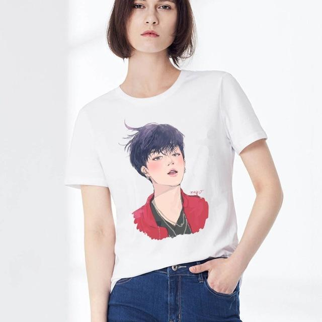 New Womens Bts Summer Cartoon T-Shirt South Korea Bullet-Proof Youth Group Spent Beautiful Men-Tops & Tees-kitty female Store-11-XXL-EpicWorldStore.com