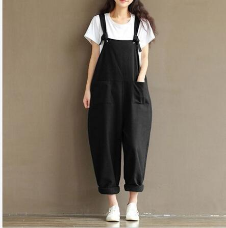 3257bcf2cca9 New Womens Casual Loose Linen Pants Cotton Jumpsuit Strap Harem Trousers  Overalls Overalls-Jumpsuits-