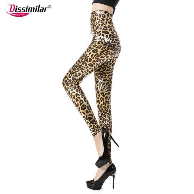 New Womens Stylish Skinny Faux Leather High Waist Leggings Pants Xs/S/M/L/Xl 21 Colors-Bottoms-Dissimilar Official Store-big leopard-XS-EpicWorldStore.com