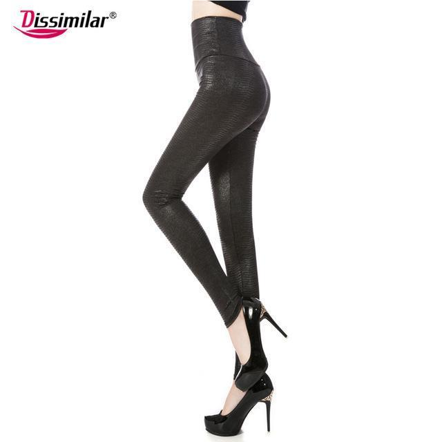 New Womens Stylish Skinny Faux Leather High Waist Leggings Pants Xs/S/M/L/Xl 21 Colors-Bottoms-Dissimilar Official Store-bright snake black-XS-EpicWorldStore.com