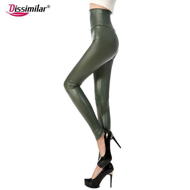 New Womens Stylish Skinny Faux Leather High Waist Leggings Pants Xs/S/M/L/Xl 21 Colors-Bottoms-Dissimilar Official Store-matt army green-XS-EpicWorldStore.com