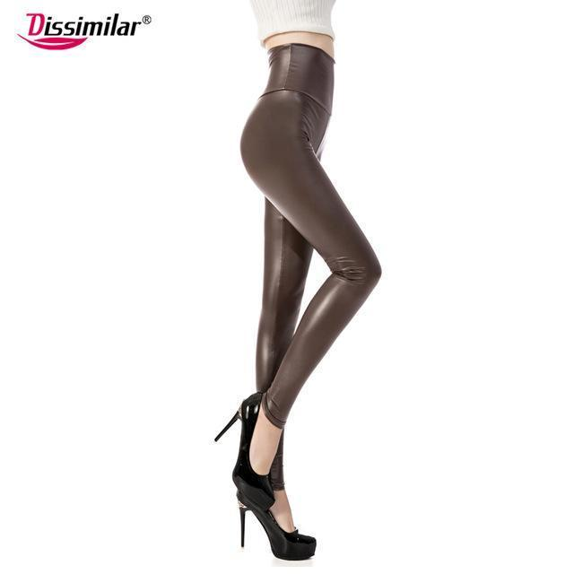 New Womens Stylish Skinny Faux Leather High Waist Leggings Pants Xs/S/M/L/Xl 21 Colors-Bottoms-Dissimilar Official Store-matt coffee-XS-EpicWorldStore.com