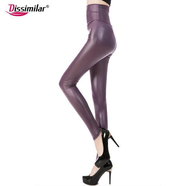 New Womens Stylish Skinny Faux Leather High Waist Leggings Pants Xs/S/M/L/Xl 21 Colors-Bottoms-Dissimilar Official Store-matt dark purple-XS-EpicWorldStore.com