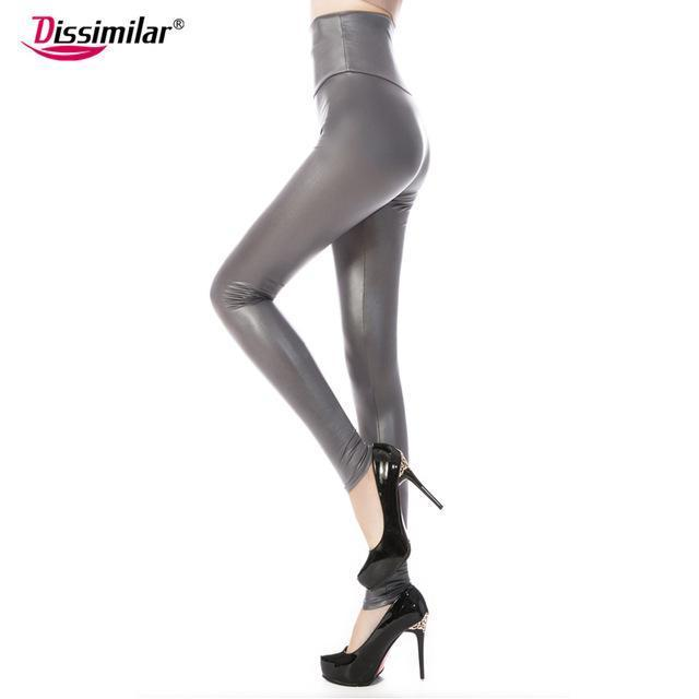 New Womens Stylish Skinny Faux Leather High Waist Leggings Pants Xs/S/M/L/Xl 21 Colors-Bottoms-Dissimilar Official Store-matt grey-XS-EpicWorldStore.com