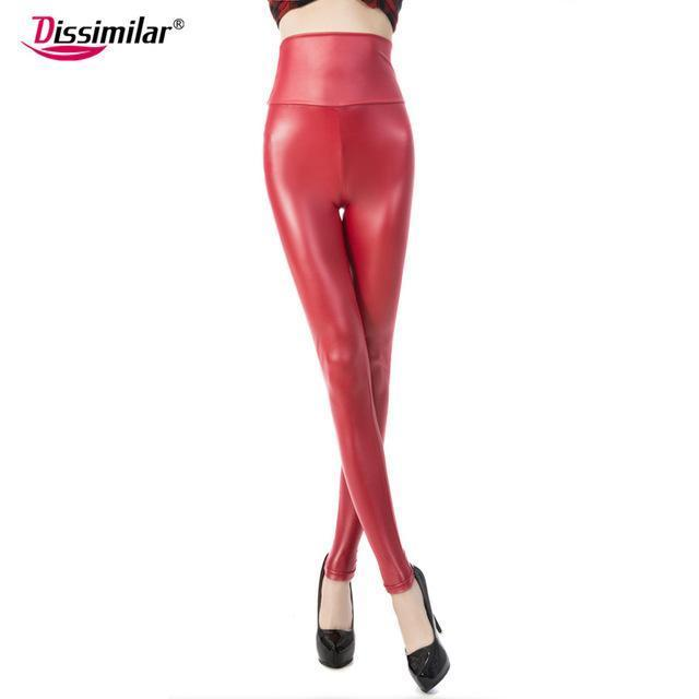New Womens Stylish Skinny Faux Leather High Waist Leggings Pants Xs/S/M/L/Xl 21 Colors-Bottoms-Dissimilar Official Store-matt red-XS-EpicWorldStore.com