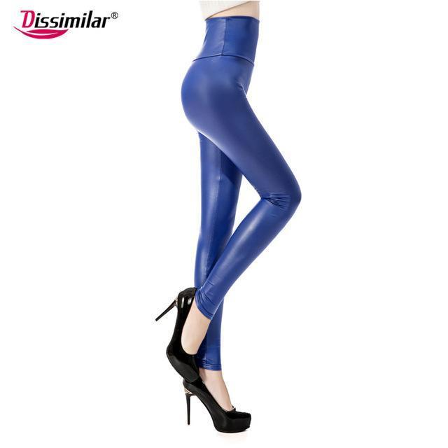 New Womens Stylish Skinny Faux Leather High Waist Leggings Pants Xs/S/M/L/Xl 21 Colors-Bottoms-Dissimilar Official Store-matt royal blue-XS-EpicWorldStore.com