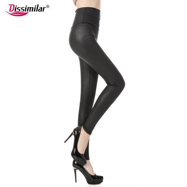 New Womens Stylish Skinny Faux Leather High Waist Leggings Pants Xs/S/M/L/Xl 21 Colors-Bottoms-Dissimilar Official Store-matt snake black-XS-EpicWorldStore.com