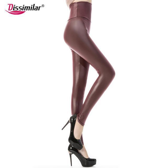 New Womens Stylish Skinny Faux Leather High Waist Leggings Pants Xs/S/M/L/Xl 21 Colors-Bottoms-Dissimilar Official Store-matt wine red-XS-EpicWorldStore.com