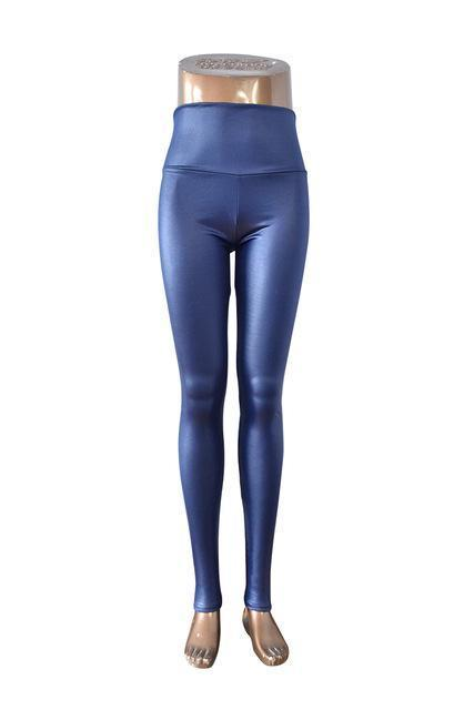 New Womens Stylish Skinny Faux Leather High Waist Leggings Pants Xs/S/M/L/Xl 21 Colors-Bottoms-Dissimilar Official Store-Navy Blue-XS-EpicWorldStore.com