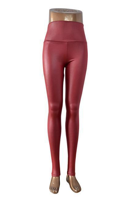 New Womens Stylish Skinny Faux Leather High Waist Leggings Pants Xs/S/M/L/Xl 21 Colors-Bottoms-Dissimilar Official Store-wine red-XS-EpicWorldStore.com