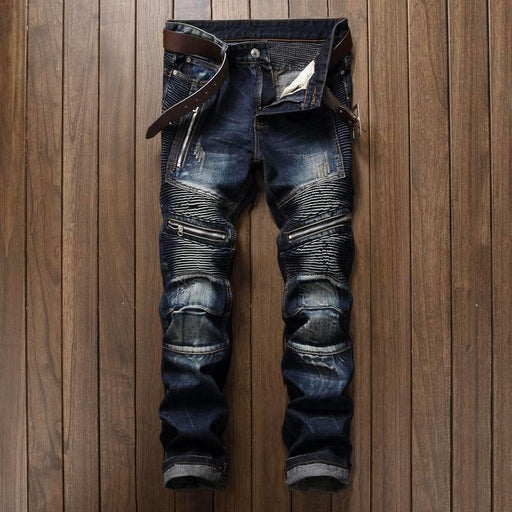 Newsosoo Mens Pleated Biker Jeans Pants Slim Fit Brand Designer Motocycle Denim Trousers For Male-Jeans-MORUANCLE Jeans Store-1-30-EpicWorldStore.com