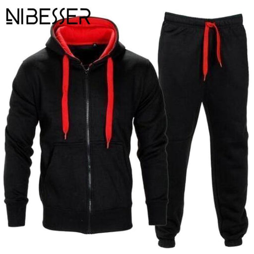 Nibesser Brand Autumn Mens Tracksuits 2 Piece Set Zipper Hood Jacket Sweat Pant Sportsmen Casual-Men's Sets-Quality Life clothes Store-1-M-EpicWorldStore.com