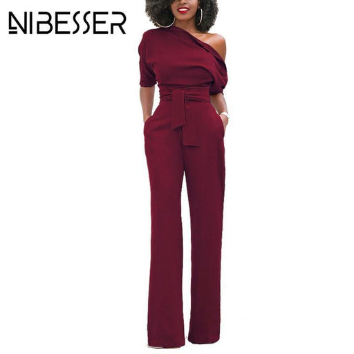 Nibesser Jumpsuits Romper Women Overall Stylish One Shoulder Bodycon Tunic Jumpsuit For Party-Jumpsuits-Shop3673108 Store-Black-S-EpicWorldStore.com