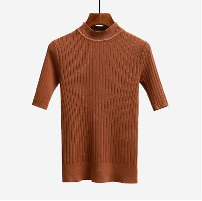 Nijiuding New Knitted Slim Pullover Women Turtleneck Knitted Sweater Shirt Female All-Match-Sweaters-LoveFashion Store-red coffee-EpicWorldStore.com