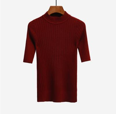 Nijiuding New Knitted Slim Pullover Women Turtleneck Knitted Sweater Shirt Female All-Match-Sweaters-LoveFashion Store-Wine red-EpicWorldStore.com