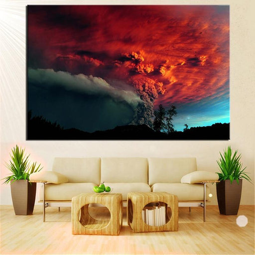 No Frame Hue Chile Erupting Volcano Modern Wall Art Oil Painting Print On Canvas For Home Decoration-Painting & Calligraphy-YW ART Store-12X18-EpicWorldStore.com