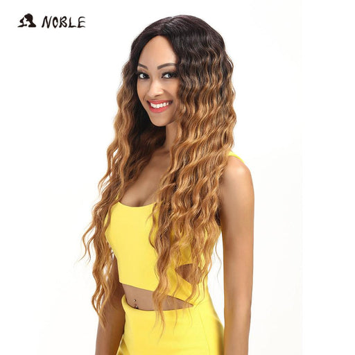 Noble Hair Products Lace Front Wigs 30 Inch Long Wavy Dark Root Synthetic Wigs For Women 2 Colors-Noble Official Store-#1B-EpicWorldStore.com