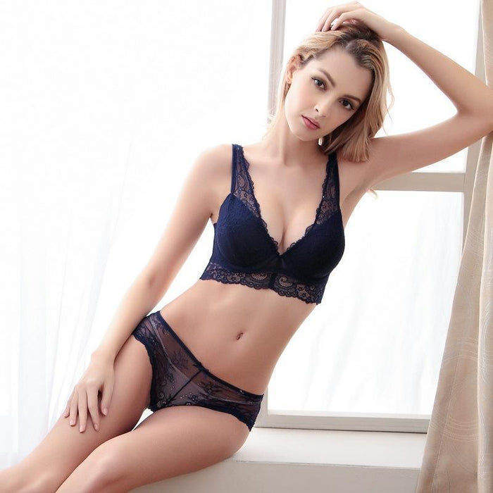 Noble Stylish Womens Stylish Underwear Bra Buckle Deep V-Neck Push Up Side Gathering Bra Panties-Bra & Brief Sets-Jilly fashion life trade co.,ltd-Black-70A-EpicWorldStore.com