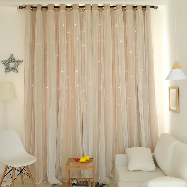 Norne Hollow Star Thermal Insulated Blackout Curtains For Living Room  Bedroom Window Curtain
