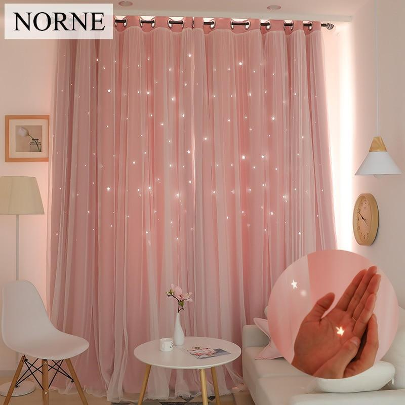 Norne Hollow Star Thermal Insulated Blackout Curtains For Living Room Bedroom Window Curtain-Curtains-NORNE Official Store-Beige-W150xL250cm-Hooks-EpicWorldStore.com