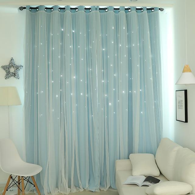 Norne Hollow Star Thermal Insulated Blackout Curtains For Living Room Bedroom Window Curtain-Curtains-NORNE Official Store-Blue-W150xL250cm-Hooks-EpicWorldStore.com