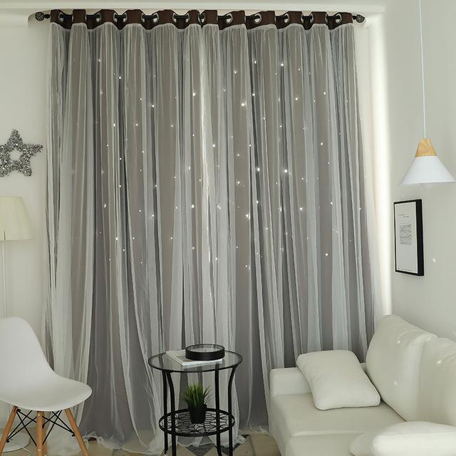 Norne Hollow Star Thermal Insulated Blackout Curtains For Living Room Bedroom Window Curtain-Curtains-NORNE Official Store-Coffee-W150xL250cm-Hooks-EpicWorldStore.com