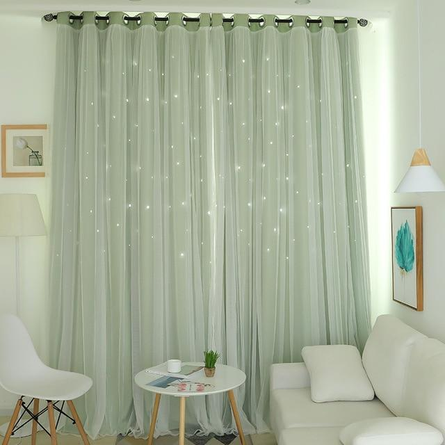 Norne Hollow Star Thermal Insulated Blackout Curtains For Living Room Bedroom Window Curtain-Curtains-NORNE Official Store-Green-W150xL250cm-Hooks-EpicWorldStore.com