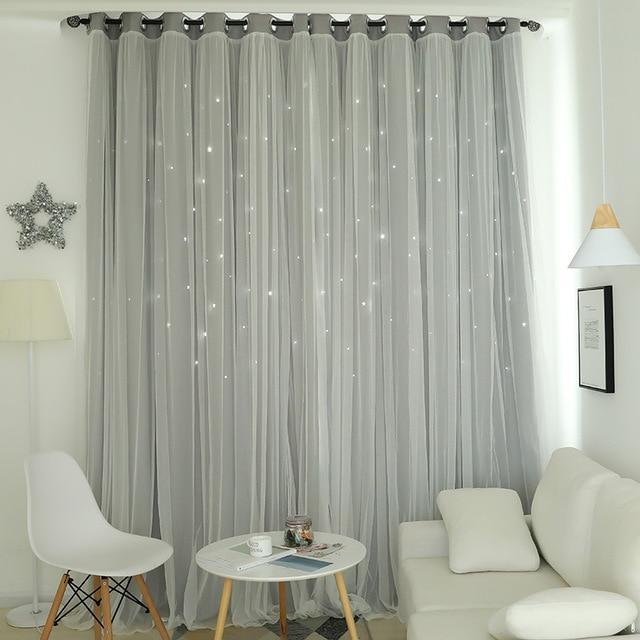 Norne Hollow Star Thermal Insulated Blackout Curtains For Living Room Bedroom Window Curtain-Curtains-NORNE Official Store-Grey-W150xL250cm-Hooks-EpicWorldStore.com