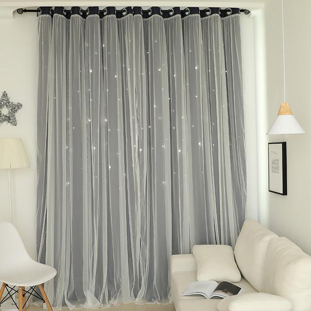 Norne Hollow Star Thermal Insulated Blackout Curtains For Living Room Bedroom Window Curtain-Curtains-NORNE Official Store-Navy-W150xL250cm-Hooks-EpicWorldStore.com