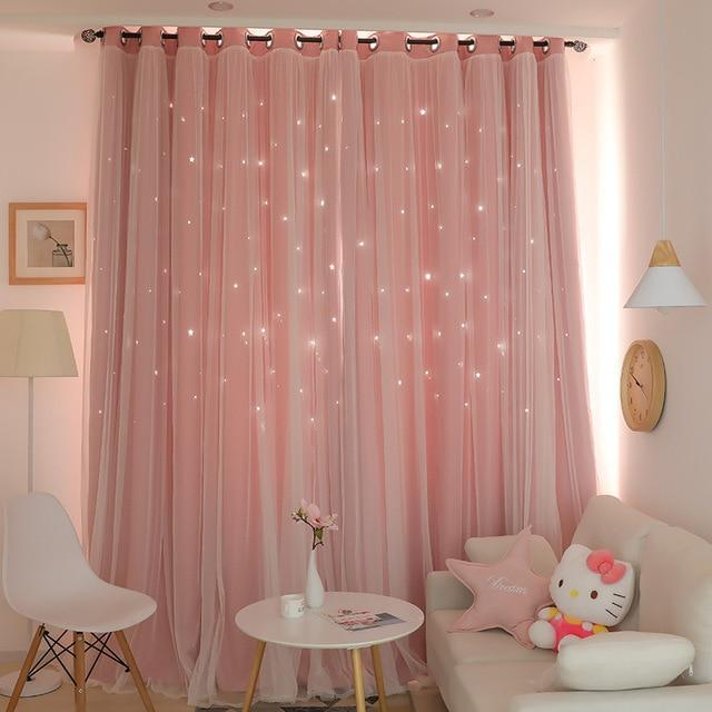 Norne Hollow Star Thermal Insulated Blackout Curtains For Living Room Bedroom Window Curtain-Curtains-NORNE Official Store-Pink-W150xL250cm-Hooks-EpicWorldStore.com