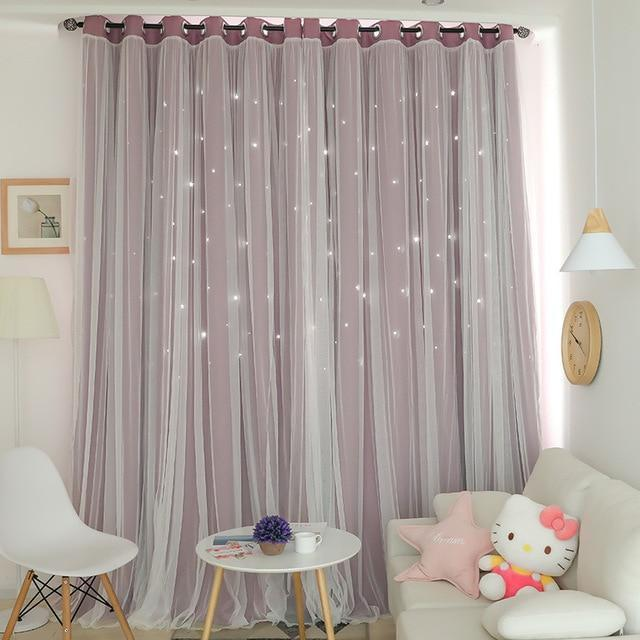 Norne Hollow Star Thermal Insulated Blackout Curtains For Living Room Bedroom Window Curtain-Curtains-NORNE Official Store-Purple-W150xL250cm-Hooks-EpicWorldStore.com
