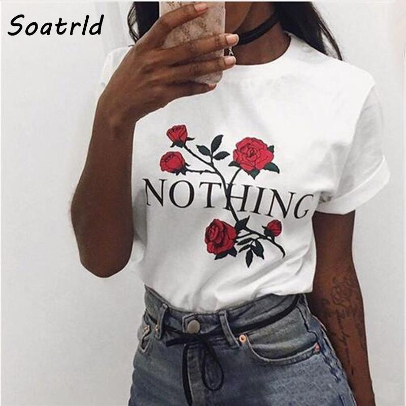 Nothing Letter Rose Print Female T Shirt Harajuku T-Shirts Women New Summer Short Sleeve Casual-Tops & Tees-Soatrld1 Store-Women T Shirt wm008-S-EpicWorldStore.com