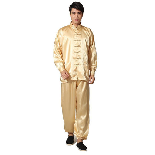 Novelty Gold Mens Satin Pajamas Set Chinese Style Button Pyjamas Suit Soft Sleepwear Shirt&Trousers-Sleep & Lounge-Kung-Fu-Burgundy-S-EpicWorldStore.com