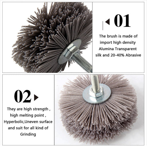 Nylon Wheel Brush 1Pc Abrasive Wire Grinding Flower Head Abrasive Woodwork Polishing Brush Bench-Abrasive Tools-Manufacture Spirit Store-Brown 80-EpicWorldStore.com