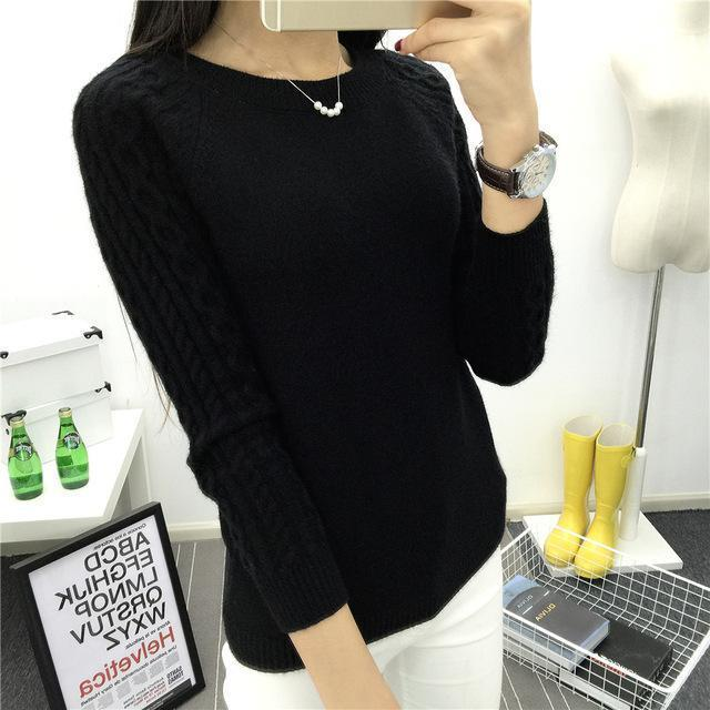 O-Neck Twisted Flower Sweater Women Winter Cashmere Femme Jumpers Long Sleeve Warm Soft Women-Sweaters-GODDESS WAY Store-Black-S-EpicWorldStore.com